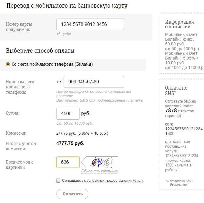 Пример заполненных полей для перевода средств на сайте Билайн