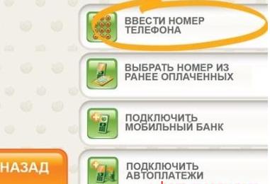 Раздел для ввода номера телефона на терминале Сбербанка