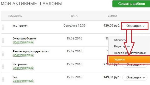 Пример возможных операций над шаблонами в Сбербанк Онлайн