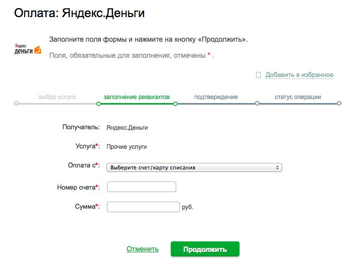 Ввод суммы и номера счета Яндекс.Деньги на сайте Сбербанка