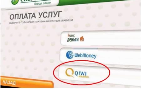 Выбор Qiwi кошелька на терминале Сбербанка